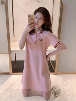 T-shirt Pink S M L XL Summer 2021 Short sleeve Polo collar Straight cylinder Medium length routine commute other 96% and above 18-24 years old Korean version other Animal design Dorothy Button embroidery Other 100% Pure e-commerce (online only)