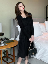 Dress Spring 2021 black S M L XL Mid length dress singleton  Long sleeves commute square neck High waist Solid color Socket A-line skirt routine Others 18-24 years old Type A Dorothy Retro Splicing mesh uttL80734 More than 95% other Other 100% Pure e-commerce (online only)
