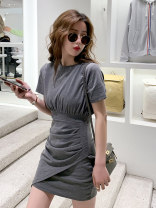 Dress Summer 2021 Grey black S M L XL Short skirt singleton  Short sleeve commute Crew neck High waist Solid color Socket A-line skirt routine Others 18-24 years old Type A Dorothy Korean version Pleating 567u More than 95% other Other 100% Pure e-commerce (online only)