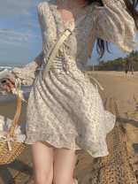 Dress Spring 2021 Floral skirt S M L XL Short skirt singleton  Long sleeves commute V-neck High waist Decor Socket A-line skirt bishop sleeve Others 18-24 years old Type A Dorothy Korean version Bandage More than 95% other Other 100% Pure e-commerce (online only)