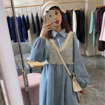 Dress Autumn of 2019 blue S M L XL Mid length dress Fake two pieces Long sleeves commute Polo collar Loose waist Solid color Single breasted A-line skirt bishop sleeve Others 18-24 years old Type A Dorothy Korean version Button More than 95% other other Other 100% Pure e-commerce (online only)