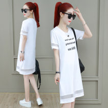 T-shirt Black red white M L XL 2XL 3XL Summer of 2019 Short sleeve Crew neck Straight cylinder Medium length routine commute cotton 86% (inclusive) -95% (inclusive) 30-34 years old Simplicity classic Letter splicing Tamanyan tmy-lsxt-2922 Splicing mesh Pure e-commerce (online only)