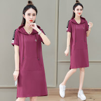 T-shirt Red bean paste red black M L XL 2XL 3XL Summer 2021 Short sleeve Hood easy Medium length routine commute Viscose 51% (inclusive) - 70% (inclusive) 25-29 years old Korean version youth Solid color Tamanyan Pocket stitching Pure e-commerce (online only)
