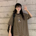 Women's large Summer 2020 Yellow gray Khaki S M L XL XXL T-shirt singleton  commute easy moderate Socket Short sleeve Striped letters Korean version Crew neck Medium length cotton printing and dyeing routine LSK-1101AS Lai Shiku 18-24 years old 81% (inclusive) - 90% (inclusive) other