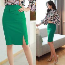 skirt Summer of 2018 XS S M L XL XXL XXXL Black green white Middle-skirt commute High waist Suit skirt Solid color Type H 91% (inclusive) - 95% (inclusive) other Flower writing polyester fiber zipper Ol style Polyester fiber 91% polyurethane elastic fiber (spandex) 9% Pure e-commerce (online only)