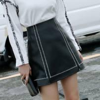 skirt Autumn 2020 S,XL,M,2XL,L Middle zipper - Black - S15, middle zipper - Silver - p41, middle zipper - yellow - M42, M - yellow - P46, J - Blue - u83, H - Black - i17 Short skirt commute High waist A-line skirt Solid color Type A 18-24 years old I69115 other Other / other other Zipper, stitching