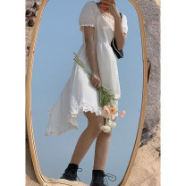 Dress Summer 2021 Ruffle Dress S,M,L Mid length dress singleton  Short sleeve Sweet other High waist Solid color A-line skirt routine 18-24 years old Type A Cyan.rose/green rose L3630 More than 95% other cotton college