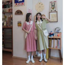Dress Summer 2020 S,M,L Mid length dress singleton  Short sleeve Sweet Crew neck High waist lattice Socket A-line skirt routine Others 18-24 years old Type A Cyan.rose/green rose More than 95% cotton college