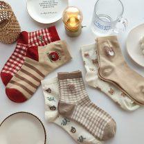 Socks / base socks / silk socks / leg socks female Other / other Average size 5 pairs routine Middle cylinder Four seasons Sweet Cartoon animation cotton Home jacquard weave Common crotch