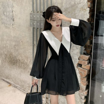 Dress Autumn 2020 Black dress S M L XL Short skirt singleton  Long sleeves commute Doll Collar High waist Solid color Socket A-line skirt bishop sleeve Others 18-24 years old Type A Yunfeina Korean version GZ9563 More than 95% other polyester fiber Polyester 100% Pure e-commerce (online only)