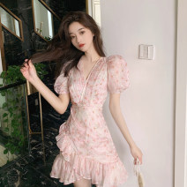 Dress Summer 2020 Pink S M L XL Short skirt singleton  Short sleeve commute V-neck High waist Broken flowers Socket Irregular skirt puff sleeve Others 18-24 years old Type A Yunfeina Korean version G5084 More than 95% Chiffon polyester fiber Polyester 100% Pure e-commerce (online only)