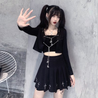 Fashion suit Summer 2021 S M L XL Black cardigan + bra + cross skirt 18-25 years old Yunfeina GZ0326-7YFN-L 81% (inclusive) - 90% (inclusive) polyester fiber Polyester 100% Pure e-commerce (online only)