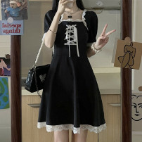 Dress Summer 2021 Black dress S M L XL Short skirt singleton  Short sleeve commute square neck High waist Solid color other A-line skirt puff sleeve Others 18-24 years old Type A Yunfeina Retro GZ1532YFN More than 95% other polyester fiber Polyester 100% Pure e-commerce (online only)