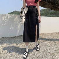 skirt Spring 2021 S,M,L Yellow, black Mid length dress commute High waist A-line skirt Solid color Type H 18-24 years old DY66857 30% and below Bowknot, stitching, bandage, asymmetry Korean version