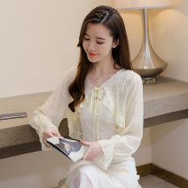 Lace / Chiffon Summer 2021 Blue, yellow, pink S,M,L,XL,2XL Long sleeves Versatile Cardigan singleton  easy Super short V-neck Solid color pagoda sleeve 18-24 years old DY21971 Bowknot, ruffle, fold, Auricularia auricula, lace, asymmetry, strap 30% and below polyester fiber