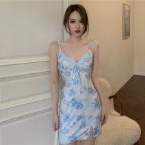 Dress Summer 2021 blue Average size Mid length dress singleton  Sleeveless commute V-neck High waist Decor Socket A-line skirt camisole 18-24 years old Type H Korean version