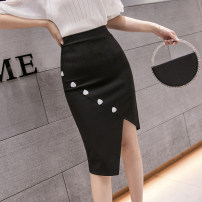 skirt Spring 2021 S,M,L,XL,2XL black Middle-skirt Versatile High waist skirt Solid color Type H 25-29 years old DY20307 51% (inclusive) - 70% (inclusive) Button, asymmetric, resin fixation, stitching 201g / m ^ 2 (including) - 250G / m ^ 2 (including)