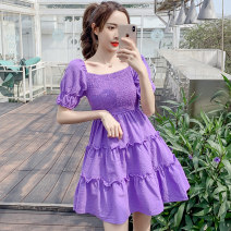 Dress Summer 2020 violet S M L XL Mid length dress singleton  Short sleeve commute square neck High waist lattice Socket A-line skirt puff sleeve 25-29 years old Type A Bullfrog Korean version Stitching of open back pleated Auricularia auricula More than 95% other Other 100%