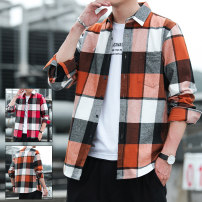 shirt Youth fashion Peiluotu M L XL 2XL 3XL Orange and red routine Pointed collar (regular) three quarter sleeve easy Other leisure autumn 89155nkcs-1 youth Polyester 92% polyamide 8% tide 2020 Geometric pattern Autumn 2020 No iron treatment polyester fiber Decorative loop