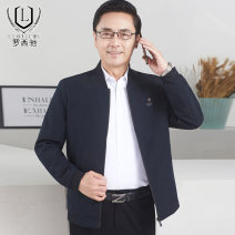 Jacket Luo Xichi Fashion City 170/M 175/L 180/XL 185/XXL 190/XXXL routine standard Other leisure spring Polyester 100% Long sleeves Wear out Baseball collar Basic public middle age routine Zipper placket Rib hem No iron treatment Closing sleeve Solid color polyester fiber Spring 2021 Side seam pocket