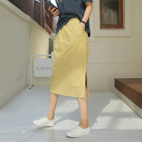 skirt Summer 2020 XXL S/M L/XL Yellow Beige brick red Mid length dress commute Natural waist A-line skirt Solid color Type H More than 95% Jianzi language hemp pocket Korean version Flax 100%