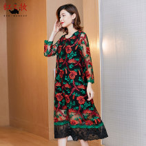Dress Spring 2021 Black black green M L XL XXL Mid length dress singleton  Long sleeves commute Crew neck Loose waist Big flower Socket A-line skirt routine Others 40-49 years old Type A Red makeup lady Embroidery 20118-1 30% and below other silk Viscose (viscose) 50% Silk 30% polyester 20%