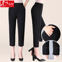 Middle aged and old women's wear Summer of 2019 Intellectuality trousers Straight cylinder singleton  Solid color Over 60 years old thin Shallow load Diamond inlay other Other 100% 96% and above Exclusive payment of tmall 7 / 9 pants