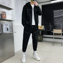 Leisure sports suit spring L XL 2XL 3XL 4XL 5XL 6XL 7XL 8XL Black gray Beige Long sleeves Tian Rui trousers youth STZ2178 polyester fiber Spring 2021 polyester