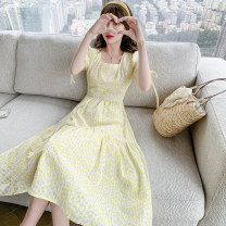 Dress Summer 2021 yellow S,M,L,XL longuette singleton  Short sleeve commute square neck High waist Solid color Socket A-line skirt routine Others 25-29 years old Type A Other / other lady Fungus, lace 81% (inclusive) - 90% (inclusive) other other