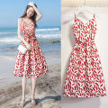 Dress Summer of 2019 Red leaf sling 6802 cardigan + Red Leaf sling S M L XL Middle-skirt singleton  Sleeveless commute V-neck High waist Decor Socket A-line skirt camisole 18-24 years old Type A Love fascination Korean version Bow fold tie print AZM-3019 More than 95% polyester fiber Polyester 100%