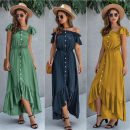 Dress Summer 2020 Yellow, green, navy blue, the size is bigger than Chinese size, suggest to buy a smaller size S,M,L,XL,2XL longuette Short sleeve One word collar Elastic waist Solid color Ruffle Skirt Flying sleeve Breast wrapping Type A ISYILTTY 269#0763 polyester fiber