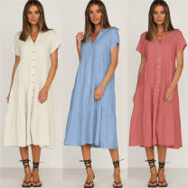 Dress Summer 2021 Apricot, blue S. M, l, XL, the size is bigger than Chinese size, suggest to buy a smaller size Mid length dress singleton  Short sleeve street V-neck Loose waist Solid color A-line skirt other Type A ISYITLTY two hundred and sixty-nine # one thousand one hundred and thirty-nine
