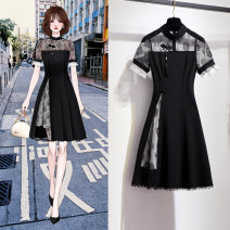Dress Summer 2020 S M L XL Mid length dress singleton  Short sleeve commute stand collar High waist Solid color Socket Irregular skirt other Others 25-29 years old Type A Oenothera court 51% (inclusive) - 70% (inclusive) cotton Cotton 60% polyamide 35% polyurethane elastic 5%