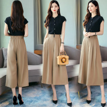 Women's large Summer 2021 Picture color M L XL XXL trousers Two piece set commute Self cultivation thin Socket Short sleeve Solid color Korean version Crew neck routine routine PX5039 Panxi 25-29 years old pocket 71% (inclusive) - 80% (inclusive) Medium length Other 100% Pure e-commerce (online only)