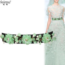 Belt / belt / chain Pu (artificial leather) Green flowers, blue flowers female belt literature Single loop Youth, middle age Smooth button Flower design 3.8cm alloy Imperial concubine