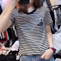 T-shirt S M L XL 2XL Summer 2020 Short sleeve Crew neck Self cultivation Regular routine commute cotton 86% (inclusive) -95% (inclusive) 25-29 years old Korean version classic Thin horizontal stripe Ninel Cotton 95% polyurethane elastic fiber (spandex) 5% Pure e-commerce (online only)