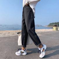 Women's large Autumn of 2019 grey Large size Jeans singleton  commute moderate Korean version Denim polyester cotton Make old JC11281 Gnecorn / Jianchen Cotton 75% viscose 20% polyester 5% Pure e-commerce (online only) Ninth pants