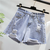 Women's large Summer 2020 blue Big XL [100-130 kg] big XXL [130-150 kg] big XXL [150-170 kg] big 4XL [175-200 kg] Jeans singleton  commute easy moderate Korean version Polyester cotton XY1873 Gnecorn / Jianchen hole Cotton 75% viscose 20% polyester 5% Pure e-commerce (online only) shorts rivet