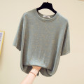 Women's large Summer 2020 Pink grey black Large size T-shirt singleton  commute easy moderate Socket Short sleeve Korean version Crew neck routine cotton printing and dyeing SQ6613 Gnecorn / Jianchen Cotton 95% polyurethane elastic fiber (spandex) 5% Pure e-commerce (online only)