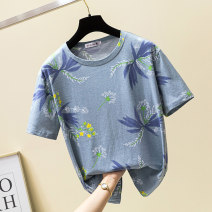 Women's large Spring of 2019 T-shirt singleton  commute easy moderate Socket Short sleeve Plants and flowers Korean version Crew neck routine cotton printing and dyeing routine Gnecorn / Jianchen 25-29 years old Cotton 95% polyester 5% Pure e-commerce (online only)