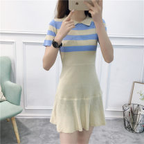 Dress Summer of 2019 Apricot Black Pink Average size Mid length dress singleton  Short sleeve commute Doll Collar High waist stripe Socket routine 18-24 years old Mudiela Korean version thread MDL9345 More than 95% knitting other Other 100% Pure e-commerce (online only)