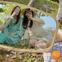 Dress Summer 2020 Mint green, beige S,M,L Short skirt singleton  Short sleeve commute Crew neck Loose waist Solid color Socket other other Others 25-29 years old Made metoo Korean version Splicing A495 81% (inclusive) - 90% (inclusive) other