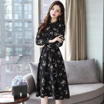 Dress Autumn of 2019 black S M L XL XXL Mid length dress singleton  Long sleeves commute Crew neck middle-waisted Broken flowers Socket A-line skirt routine 25-29 years old Type A Zimeiyan Korean version ZA21520 More than 95% other Other 100% Pure e-commerce (online only)