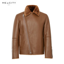 leather clothing Me&City Business gentleman Coffee color group 165/88A 170/92A 175/96A routine Leather clothes Lapel Straight cylinder zipper leisure time youth Sheepskin Winter of 2019 Same model in shopping mall (sold online and offline)