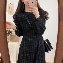 Dress Autumn of 2019 White, black S,M,L,XL Mid length dress singleton  Long sleeves commute Crew neck High waist lattice zipper A-line skirt other Others Type A Other / other Korean version Lotus leaf edge brocade