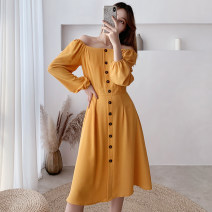 Dress Spring 2020 yellow S,M,L,XL Mid length dress singleton  Long sleeves commute One word collar High waist Solid color Single breasted A-line skirt routine Others Type A Other / other Korean version