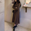 Dress Spring 2021 coffee S,M,L,XL Mid length dress singleton  Long sleeves commute V-neck Loose waist Broken flowers zipper A-line skirt routine Others 18-24 years old Type A Korean version Cellulose acetate