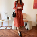 Dress Winter of 2019 gules S,M,L,XL Mid length dress singleton  Long sleeves commute V-neck Elastic waist Decor zipper A-line skirt other Others Type A Other / other Korean version Bow, print