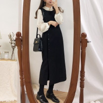 Dress Winter of 2018 S,M,L,XL longuette Two piece set Sleeveless commute Crew neck High waist Solid color Socket Pencil skirt other Others 18-24 years old Type H Other / other Korean version Button 226#