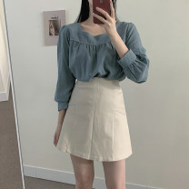 Fashion suit Autumn 2020 S,M,L,XL Blue shirt, apricot shirt, coffee skirt, apricot skirt 18-25 years old Other / other cotton